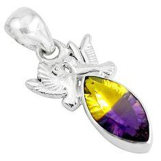 8.22cts multi color ametrine (lab) 925 sterling silver love birds pendant d31247