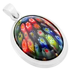 25.26cts multi color italian murano glass 925 sterling silver pendant c4355