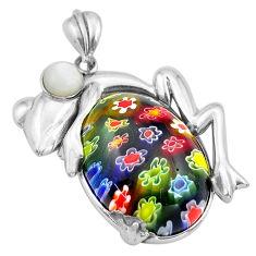 29.28cts multi color italian murano glass pearl 925 silver frog pendant c4356