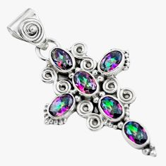 5.57cts multi color rainbow topaz 925 sterling silver holy cross pendant d31992