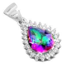 2.81cts multi color rainbow topaz topaz 925 sterling silver pendant c3559