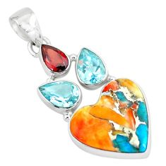 Multi color spiny oyster arizona turquoise 925 silver heart pendant p65348