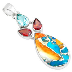 17.22cts multi color spiny oyster arizona turquoise 925 silver pendant p65347