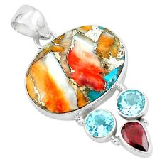 17.57cts multi color spiny oyster arizona turquoise 925 silver pendant p65351