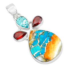 16.73cts multi color spiny oyster arizona turquoise 925 silver pendant p65361