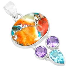 15.05cts multi color spiny oyster arizona turquoise 925 silver pendant p65363