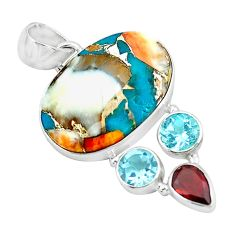 15.65cts multi color spiny oyster arizona turquoise 925 silver pendant p65366