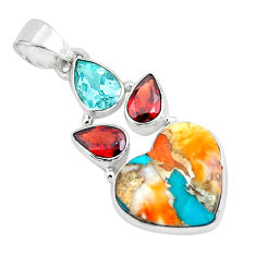 12.22cts multi color spiny oyster arizona turquoise 925 silver pendant p65372