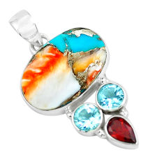 15.65cts multi color spiny oyster arizona turquoise 925 silver pendant p65388