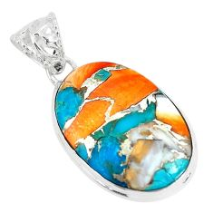 14.72cts multi color spiny oyster arizona turquoise 925 silver pendant p65390