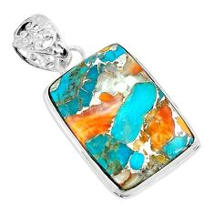17.57cts multi color spiny oyster arizona turquoise 925 silver pendant p65420