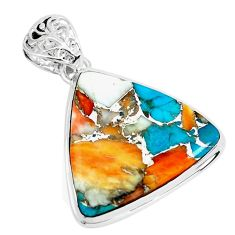 19.72cts multi color spiny oyster arizona turquoise 925 silver pendant p65436
