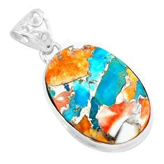 17.18cts multi color spiny oyster arizona turquoise 925 silver pendant p70615
