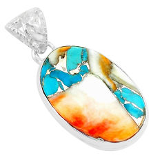 17.22cts multi color spiny oyster arizona turquoise 925 silver pendant p70619