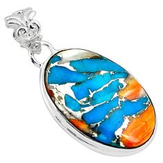 15.05cts multi color spiny oyster arizona turquoise 925 silver pendant p79126