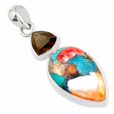 12.48cts multicolor spiny oyster arizona turquoise 925 silver pendant p39744
