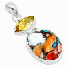 15.58cts multicolor spiny oyster arizona turquoise 925 silver pendant p39757