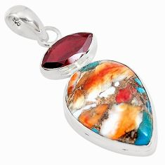15.05cts multicolor spiny oyster arizona turquoise 925 silver pendant p39765