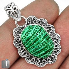 MYSTERIOUS GREEN CARDITA SHELL 925 STERLING SILVER PENDANT JEWELRY G31699