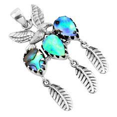 9.91cts natural abalone paua seashell 925 silver dreamcatcher pendant p42003