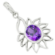 3.83cts natural amethyst 925 sterling silver pendant jewelry p62644