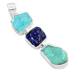 12.62cts natural aqua aquamarine rough sapphire rough 925 silver pendant p88113
