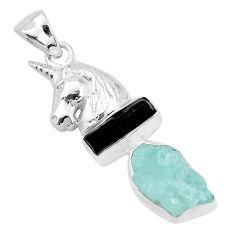 Natural aqua aquamarine rough tourmaline rough 925 silver horse pendant p35374
