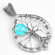 5.01cts natural aqua chalcedony 925 sterling silver tree of life pendant p43078