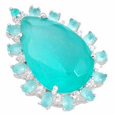 10.76cts natural aqua chalcedony topaz 925 sterling silver pendant jewelry c1945