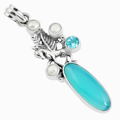 13.09cts natural aqua chalcedony topaz pearl 925 silver unicorn pendant p38989