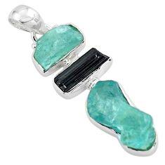 13.66cts natural aquamarine rough tourmaline rough 925 silver pendant p88106