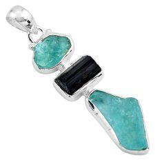 14.47cts natural aquamarine rough tourmaline rough 925 silver pendant p88139