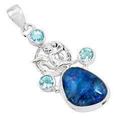 14.86cts natural australian opal triplet silver cupid angel wings pendant p69480