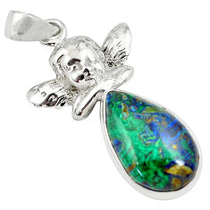 13.34cts natural azurite malachite 925 silver cupid angel wings pendant p79339