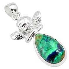 14.61cts natural azurite malachite 925 silver cupid angel wings pendant p79341