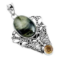 Clearance Sale- 14.72cts natural black banded oil shale 925 silver butterfly pendant d31719