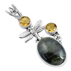 Clearance Sale- 11.73cts natural black banded oil shale 925 silver dragonfly pendant d31711