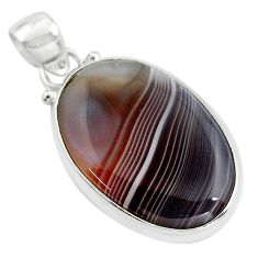 15.08cts natural black botswana agate 925 sterling silver pendant jewelry p85045