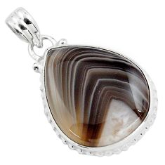 16.73cts natural black botswana agate 925 sterling silver pendant jewelry p85048