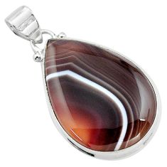 19.23cts natural black botswana agate 925 sterling silver pendant jewelry p85051