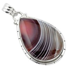 18.88cts natural black botswana agate 925 sterling silver pendant jewelry p85060