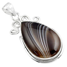 24.46cts natural black botswana agate 925 sterling silver pendant jewelry p85071