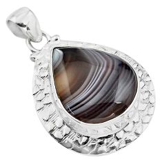 22.22cts natural black botswana agate 925 sterling silver pendant jewelry p85079