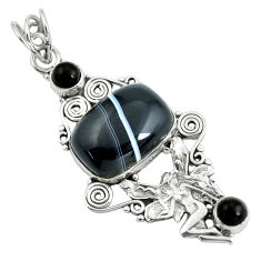 14.12cts natural black botswana agate silver angel wings fairy pendant d31924