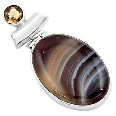 21.48cts natural black botswana agate smoky topaz 925 silver pendant p85068