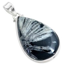 32.12cts natural black chrysanthemum 925 sterling silver pendant jewelry p44000