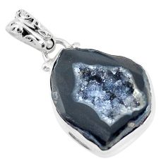 17.42cts natural black geode druzy 925 sterling silver pendant jewelry p58693