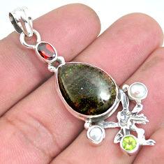 Natural black honduran matrix opal 925 silver angel wings fairy pendant p43134