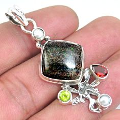 Natural black honduran matrix opal 925 silver angel wings fairy pendant p43136