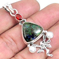 Natural black honduran matrix opal 925 silver angel wings fairy pendant p46741